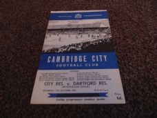 Cambridge City v Dartford Reserves, 1964/65